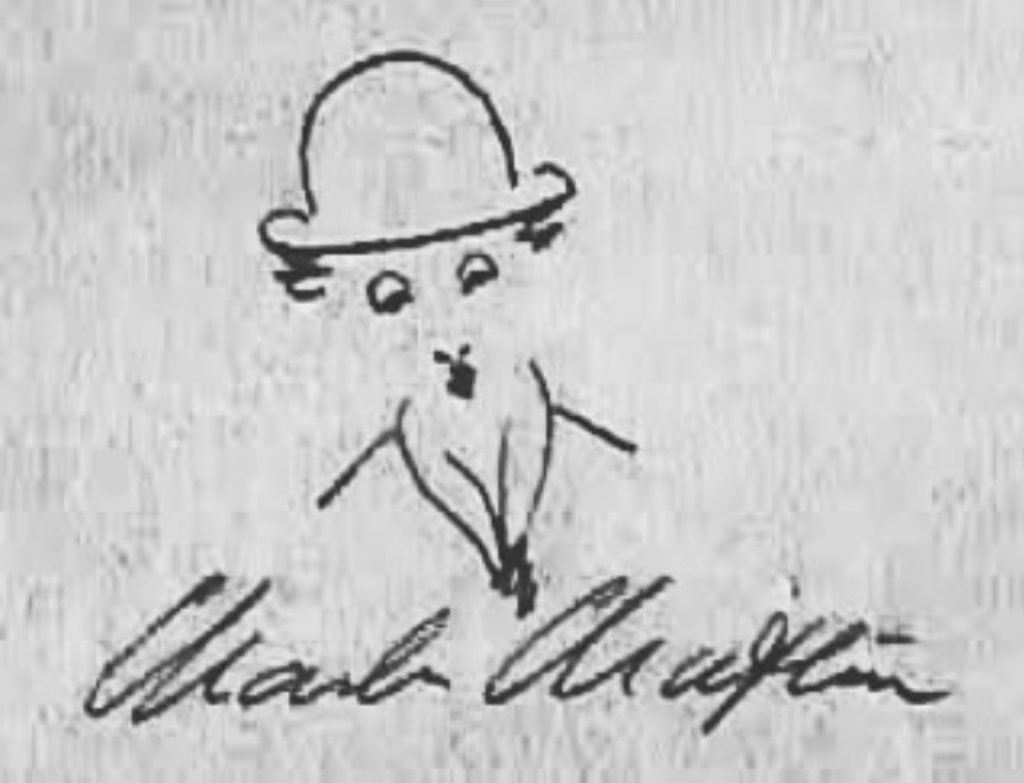 Caricatura realizada por el mismo Charles Chaplin