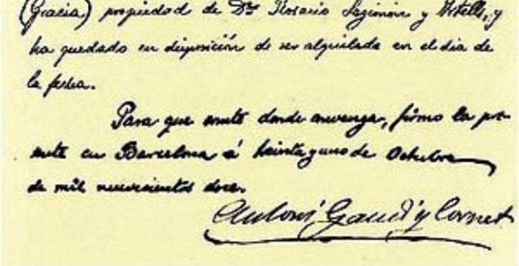 Carta de Antoni Gaudi