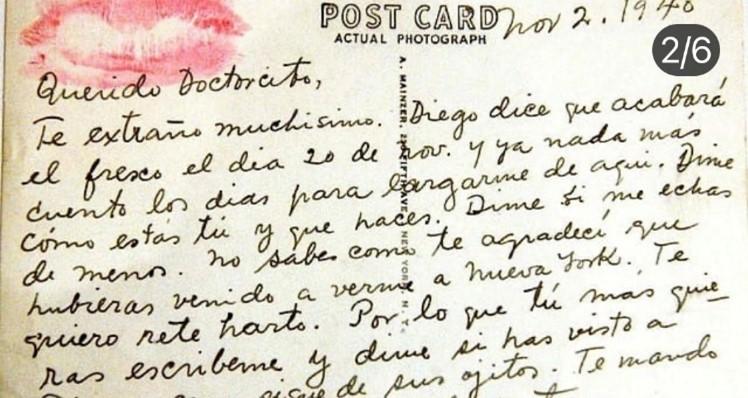 Frida Khalo postal a diego Noviembre 1940