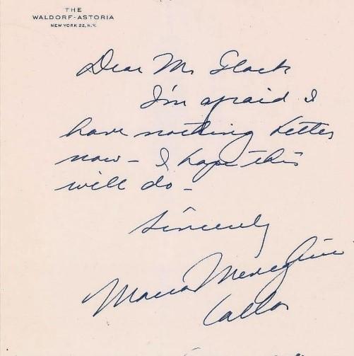 Carta de Maria Callas