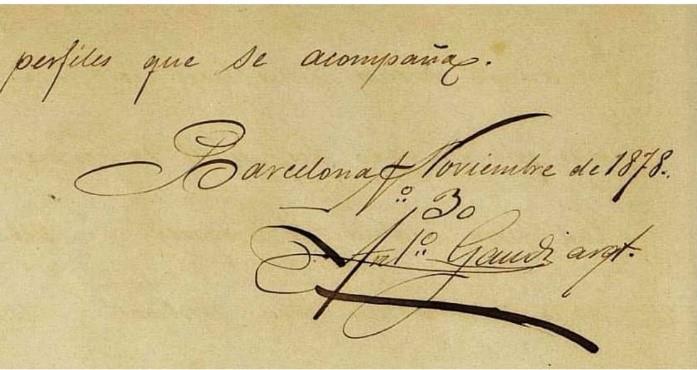Documento firmado por Antoni Gaudi Noviembre 1878