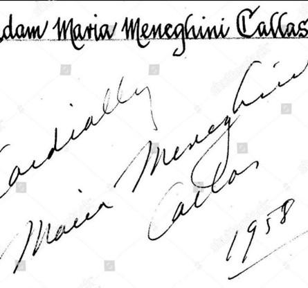 Firma de Maria Callas